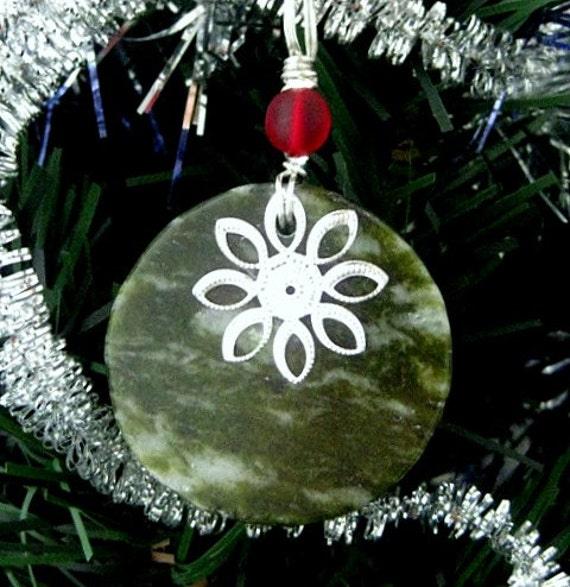 Irish Ornament. Connemara Marble Christmas Ornament with Silver Flower Snowflake