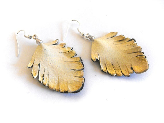 Feather earrings Leather earrings Ivory and gold color SALE