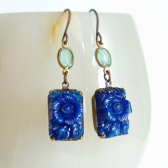 Carved Floral Glass Earrings Cobalt Blue Vintage Stones Japanese Pressed Glass Cabochons