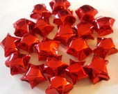 Origami Stars - 20 Shiny Metallic Red Origami Lucky Stars - Confetti, Party Favor, Gift Enclosure, Art or Craft Supply