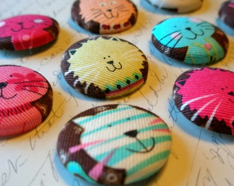 Two Partial Sets Left - Brown Cat Buttons - Fabric-Covered Buttons - Large Round Buttons - Kitty Fabric Buttons - Feline Covered Buttons