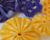 Yo-Yos and Crocheted Flowers -  Goldenrod Yellow and Violet