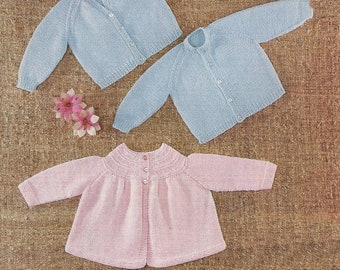 "PDF Knitting Pattern Baby Cardigans and Matinee Coat  size 6 months 19"" (X94)"