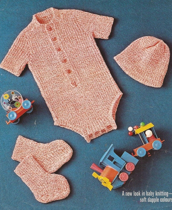 PDF Knitted Baby All In One Babygrow Knitting Pattern D193