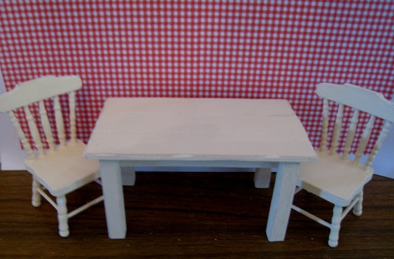 Table and two chairs. Buttermilk Farm. Twelfh scale dollhouse miniature