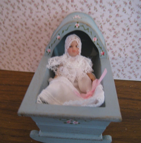 Cradle with baby doll, duck egg blue,, . a dollhouse mini