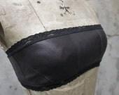 SALE.. Black Leather Bandeau.
