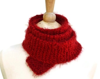 Chunky knit scarf - boho skinny scarf - knit red scarf - thin long scarf - red boho scarf - gift for her - womens scarf - winter scarf