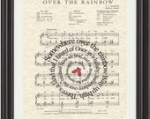Somewhere Over The Rainbow Song Sheet Music Art Print, Wizard Of OZ Movie Art, Song Lyrics art, Art for Nursery, Childrens art