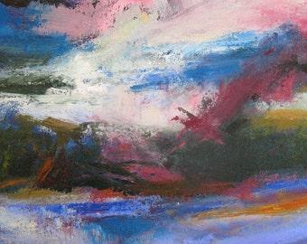 Trincomali Channel GICLEE ART PRINT 11 x 17 abstract landscape ocean Gulf Islands purple pink sunset