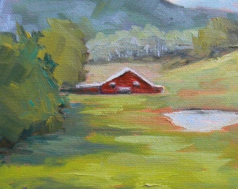 "Farm Landscape Painting, Barn Painting,Impressionist art, ""Valley View"" 5x7"" Painting, small oil painting"