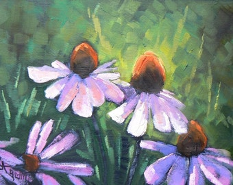 "Floral Oil Painting, Cone Flower Painting, Flower Painting,  6x8"" Painting, ""Memories of Summer"""