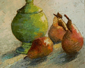 "Impressionist Vase and Pear Still Life, Pear Painting, Oil Knife Painting, ""Vase and Pears"" 10x10 Original Oil Painting"