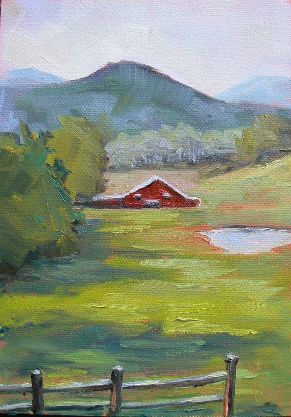 "Farm Landscape Painting, Barn Painting,Impressionist art, ""Valley View"" 5x7"", Painting on Sale,  Reduced from  85.00"