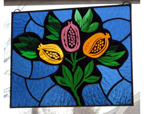 SALE // Stained Glass Pomegranates // Hand Painted