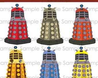 Clipart, Dalek,  Doctor Who, INSTANT DOWNLOAD,  Digital, clip art , digital, scrapbooking , Dr. Who,