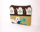 Small  Zipper Pouch Small Change Purse Small Wallet  Coffepot in Brown