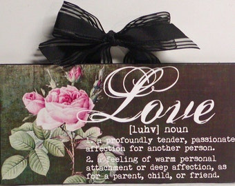 Shabby Cottage Roses Definition of Love Wood Wall Plaque