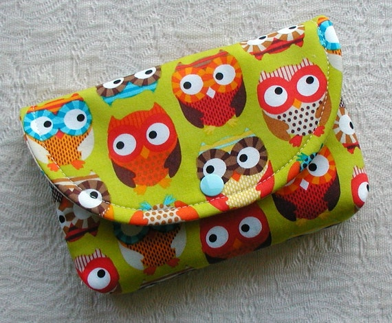 Large Snap Pouch.. Bright Owls in Lime