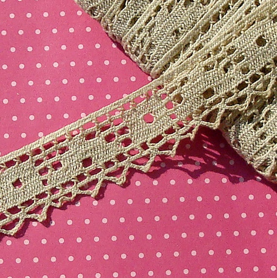 Vintage Lace Trim Cluny Lace Ecru Cotton Lace