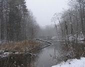 Rocky River Winter Snow Scene 8x10 Monochromatic Sepia Photograph, Calming Storm,  Ohio