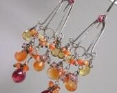 RESERVED for L -SALE - Ruby Earrings Long Oxidized Silver Chandelier Earrings Wire Wrapped  Multicolor Gemstone Mexican Fire Opal Earrings