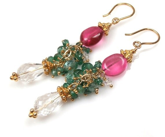 SALE 40% off - Emerald Cluster Earrings Wire Wrapped Gemstone Gold Vermeil Rock Crystal Dangle Pink Green Earrings - Maria