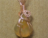 Honey AGATE Gemstone Gold Wire Wrap Necklace Pendant with FREE gold chain