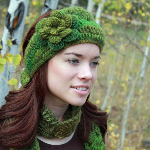 Floral Earwarmer Headband in Greens