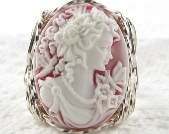 Grecian Goddess Butterfly Red Cameo Ring Sterling Silver