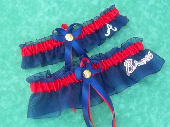 Handmade wedding garters keepsake and toss Wedding garters set Atlanta BRAVES bridal set red/blue
