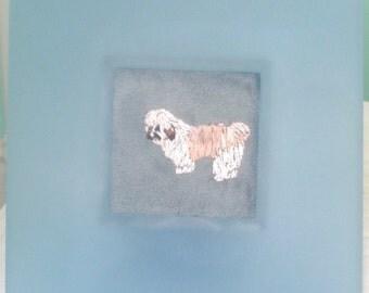 Shih Tsu Miniature Dog Portrait Embroidered, Framed