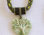 Green and White Porcelain Tree of Life Pendant with Kumihimo Rope Necklace