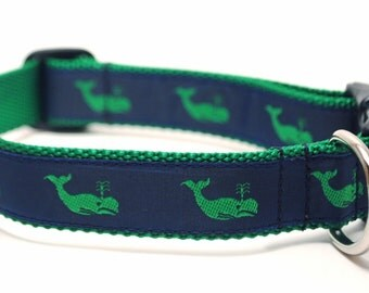 Nautical Dog Collar / Moby Green Whale / Whale Collar