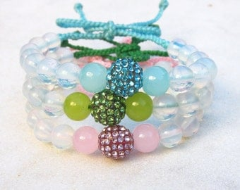 Sweet wrap bracelet opalite rhinestone ball pastel friendship bracelet  stacking bracelet pink green blue