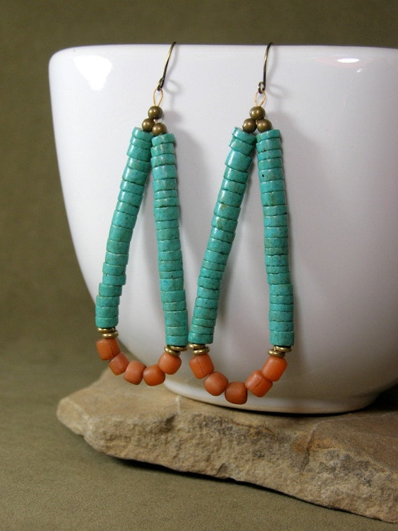 Tribal Earrings - Hoop Earrings - Turquoise Earrings - Indian Joclas - Beaded Earrings - Native Jewelry