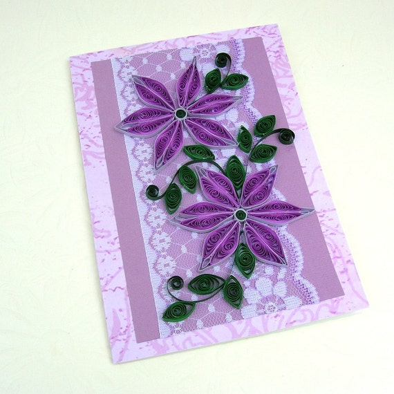 quilling card paper quilled purple daisies lace