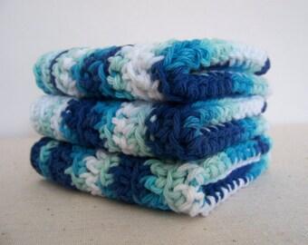 Blue Dishcloths, Cotton Crocheted. Set of 3.