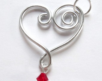Heart Pendant with Crystal Swarovski - Choose your own Color