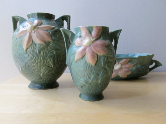 """roseville art pottery vase, pink and green clematis, 102-6"""""""