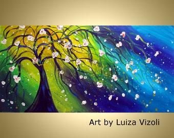 "Original 63"" Modern Tree Landscape Painting SUMMER MUSIC Large Canvas Art by Luiza Vizoli"