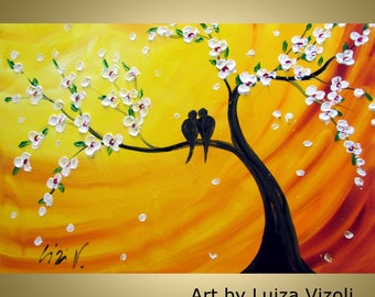 CHERRY Tree and Lovebirds at Sunset Original Oil Painting on Large Canvas CUSTOM