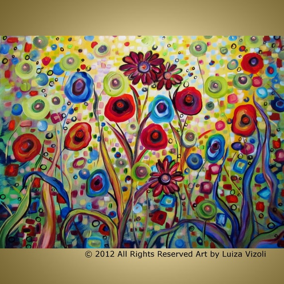 Original Abstract Flowers Colorful Whimsical Landscape HUGE Painting MY Fantasy GARDEN 52x36,64x36,72x36 by Luiza Vizoli