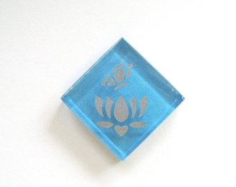 Lotus Flower Butterfly Magnet Silver Etched Teal Glass MosaicTileThe Lotus-Butterfly Project