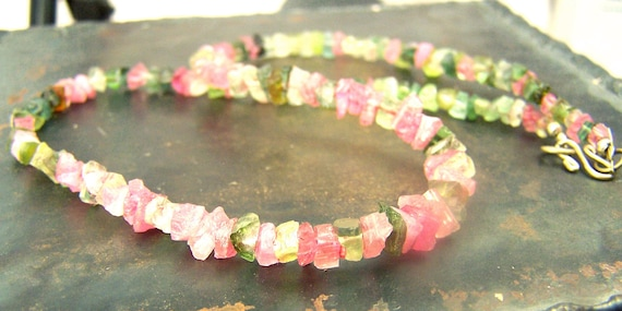 Tourmaline crystal  necklace -  99 Carats - natural pink blue green  - beaded necklace - Tourmaline - 18 inch