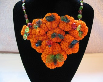 Handmade Pumpkin Patch Necklace,  Hand Crocheted Pumpkins with Glass Leaf Beads, Cluster Necklace, Pumpkins Harvest Halloween Fall Festival