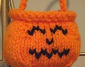 Mini Knit Pumpkin or Cauldron Treat Bag Pattern