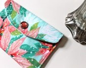 Holiday gift card holder - mini fabric wallet - Snowy Poinsettia