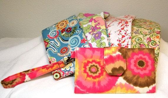 handmade wallet, womens wallet, wristlet wallet, checkbook wallet, cell phone wallet, custom made wallet, you choose fabric wallet