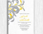Yellow and Grey Swirls Wedding Invite Printable